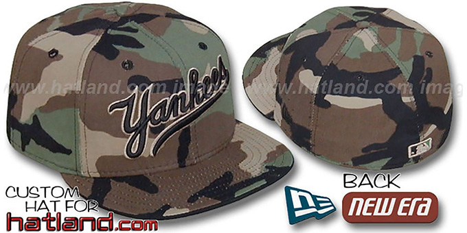 Yankees SCRIPT 'ARMY CAMO' Fitted Hat by New Era : pictured without stickers that these products are shipped with