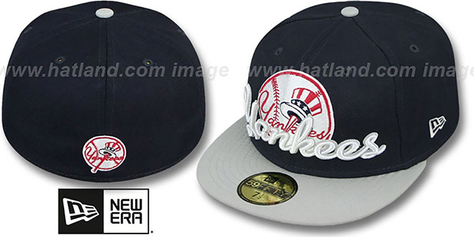 Yankees 'SCRIPT-PUNCH' Navy-Grey Fitted Hat by New Era : pictured without stickers that these products are shipped with
