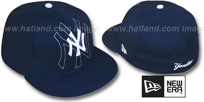 Yankees 'SHADOW BIG-ONE' Navy Fitted Hat by New Era : pictured without stickers that these products are shipped with
