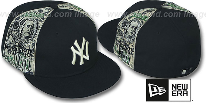 Yankees 'SHOWMEDA$' Black-Money Fitted Hat by New Era : pictured without stickers that these products are shipped with
