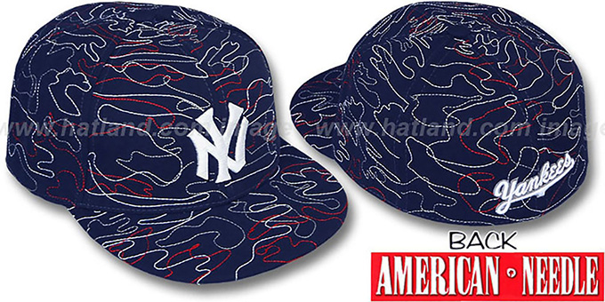 Yankees 'SILLY STRING ALL-OVER' Navy Fitted Hat by American Needle : pictured without stickers that these products are shipped with