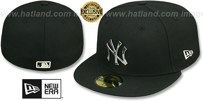 New York Yankees SILVER METAL-BADGE Black Fitted Hat eafb1a03def