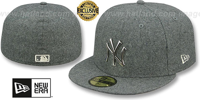 Yankees 'SILVER METAL-BADGE' Melton Grey Fitted Hat by New Era : pictured without stickers that these products are shipped with