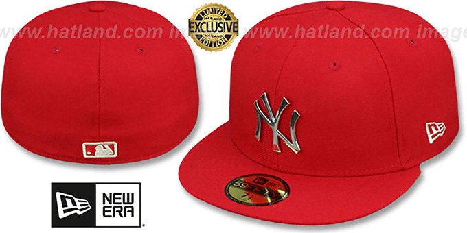 Yankees 'SILVER METAL-BADGE' Red Fitted Hat by New Era : pictured without stickers that these products are shipped with