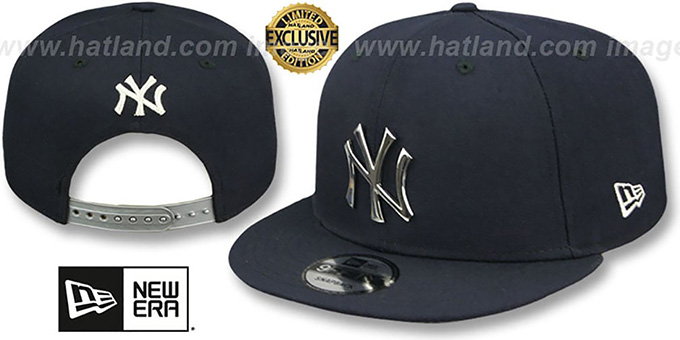 40075a7c212 Yankees  SILVER METAL-BADGE SNAPBACK  Navy Hat by New Era