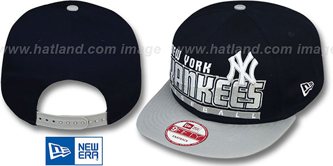 Yankees 'SLICE-N-DICE SNAPBACK' Navy-Grey Hat by New Era : pictured without stickers that these products are shipped with