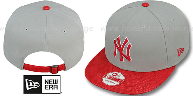Yankees 'SNAKE-THRU STRAPBACK' Grey-Red Adjustable Hat by New Era : pictured without stickers that these products are shipped with