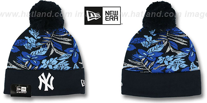 Yankees 'SNOW-TROPICS' Navy Knit Beanie Hat by New Era : pictured without stickers that these products are shipped with