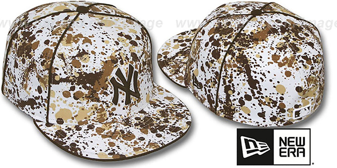 Yankees 'SPLATTER' White-Brown Fitted Hat by New Era : pictured without stickers that these products are shipped with