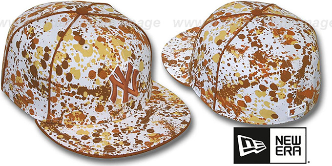 Yankees 'SPLATTER' White-Orange Fitted Hat by New Era : pictured without stickers that these products are shipped with