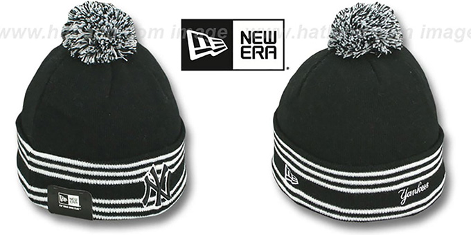 Yankees 'SPORT-KNIT' Black-Black Beanie Hat by New Era : pictured without stickers that these products are shipped with
