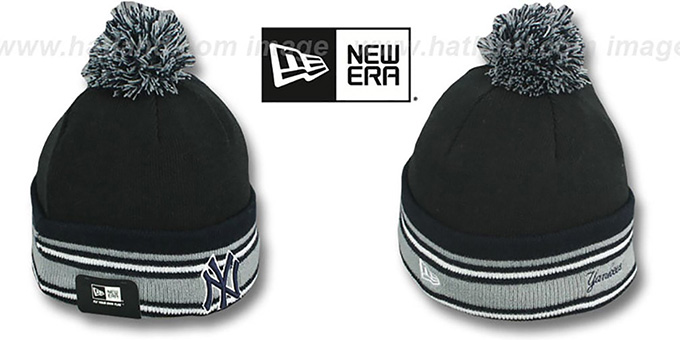 Yankees 'SPORT-KNIT' Black-Navy Beanie Hat by New Era : pictured without stickers that these products are shipped with