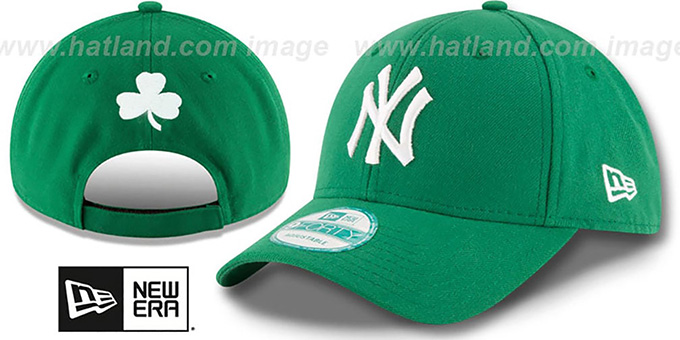 Yankees 'ST PATRICKS DAY' Green Strapback Hat by New Era : pictured without stickers that these products are shipped with