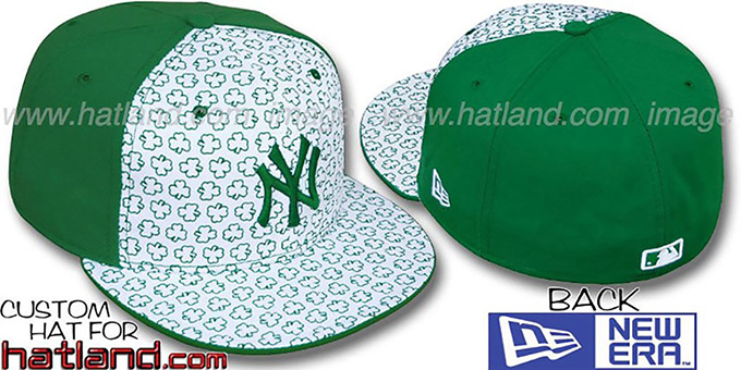 Yankees 'ST PATS FLOCKING PINWHEEL' White-Kelly Fitted Hat by New Era : pictured without stickers that these products are shipped with