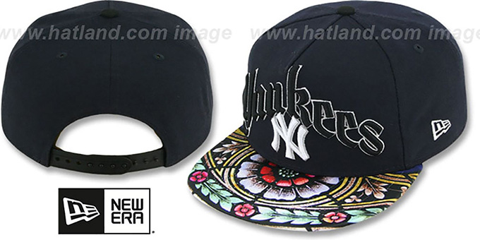 Yankees 'STAIN GLASS SNAPBACK' Navy Hat by New Era : pictured without stickers that these products are shipped with