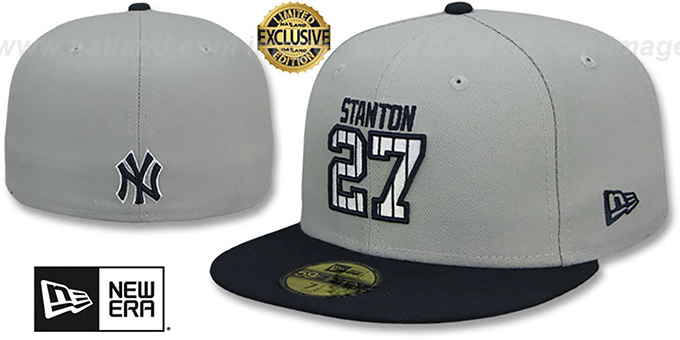 Yankees 'STANTON PINSTRIPE' Grey-Navy Fitted Hat by New Era