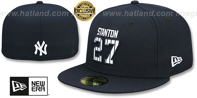 Yankees  STANTON PINSTRIPE  Navy Fitted Hat by New Era af2a90cba28e