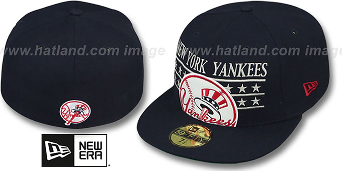 Yankees 'STAR STUDDED' Navy Fitted Hat by New Era : pictured without stickers that these products are shipped with
