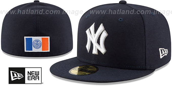Yankees 'STATE STARE' Navy Fitted Hat by New Era : pictured without stickers that these products are shipped with