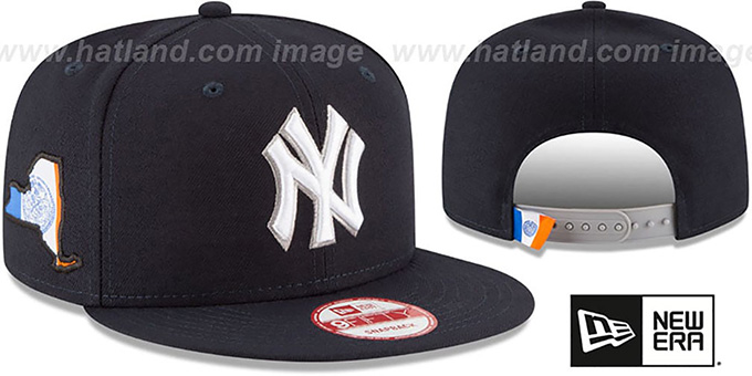 Yankees 'STATE STARE SNAPBACK' Navy Hat by New Era : pictured without stickers that these products are shipped with