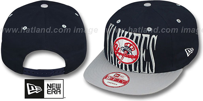 Yankees 'STEP-ABOVE SNAPBACK' Navy-Grey Hat by New Era : pictured without stickers that these products are shipped with