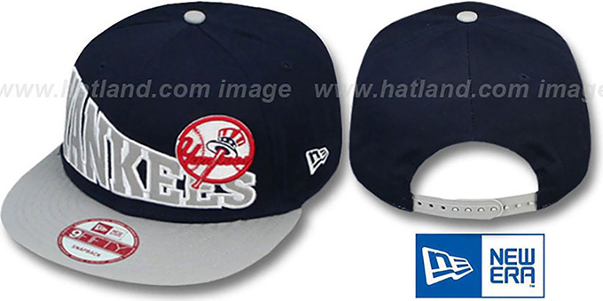 Yankees 'STOKED SNAPBACK' Navy-Grey Hat by New Era : pictured without stickers that these products are shipped with