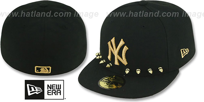 Yankees 'STUD-POP' Black Fitted Hat by New Era : pictured without stickers that these products are shipped with