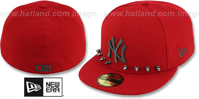 Yankees 'STUD-POP' Red Fitted Hat by New Era : pictured without stickers that these products are shipped with