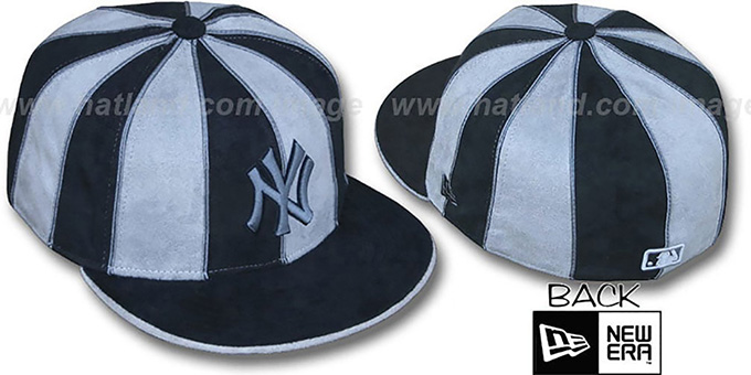 Yankees 'SUEDE 12-PACK' Black-Grey Fitted Hat by New Era : pictured without stickers that these products are shipped with