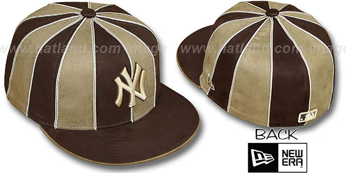 Yankees 'SUEDE 12-PACK' Brown-Wheat Fitted Hat by New Era : pictured without stickers that these products are shipped with