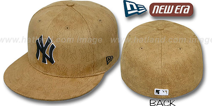 Yankees 'SUEDE PINHOLE' Tan Fitted Hat by New Era : pictured without stickers that these products are shipped with