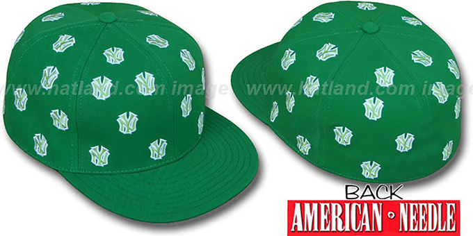 Yankees 'SUMMERTIME ALL-OVER' Green Fitted Hat by American Needle : pictured without stickers that these products are shipped with