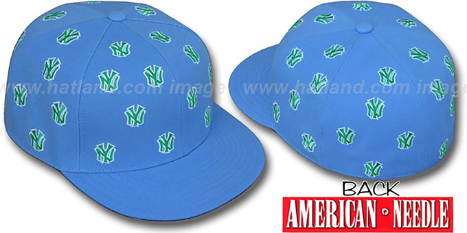 Yankees 'SUMMERTIME ALL-OVER' Light Blue Fitted Hat by American Needle : pictured without stickers that these products are shipped with