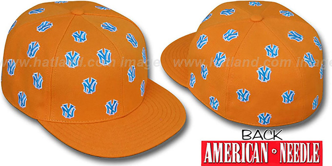 Yankees 'SUMMERTIME ALL-OVER' Orange Fitted Hat by American Needle : pictured without stickers that these products are shipped with