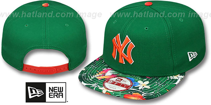 Yankees 'SUNSHINE BLOOM SNAPBACK' Green-Multi Hat by New Era : pictured without stickers that these products are shipped with