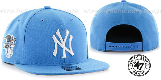 Yankees 'SURE-SHOT SNAPBACK' Sonic Blue Hat by Twins 47 Brand : pictured without stickers that these products are shipped with