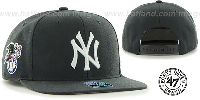 Yankees 'SURE-SHOT SNAPBACK' Charcoal Hat by Twins 47 Brand : pictured without stickers that these products are shipped with