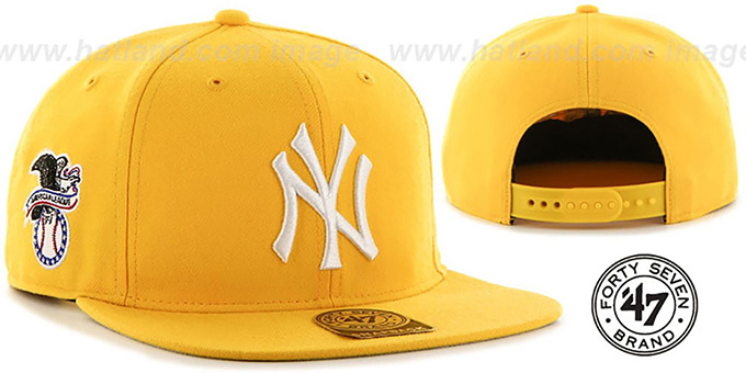 Yankees 'SURE-SHOT SNAPBACK' Gold Hat by Twins 47 Brand : pictured without stickers that these products are shipped with