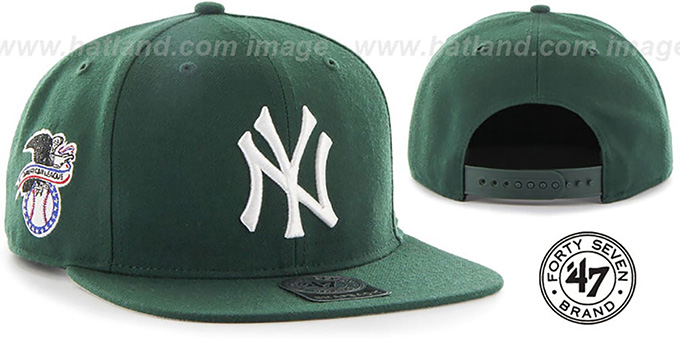 Yankees 'SURE-SHOT SNAPBACK' Green Hat by Twins 47 Brand : pictured without stickers that these products are shipped with