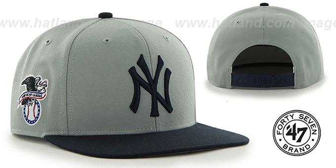 Yankees 'SURE-SHOT SNAPBACK' Grey-Navy Hat by Twins 47 Brand : pictured without stickers that these products are shipped with