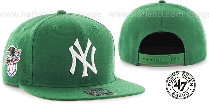 Yankees 'SURE-SHOT SNAPBACK' Kelly Hat by Twins 47 Brand : pictured without stickers that these products are shipped with