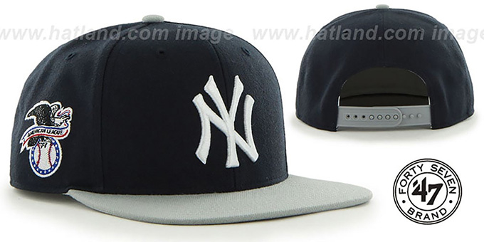 Yankees 'SURE-SHOT SNAPBACK' Navy-Grey Hat by Twins 47 Brand : pictured without stickers that these products are shipped with