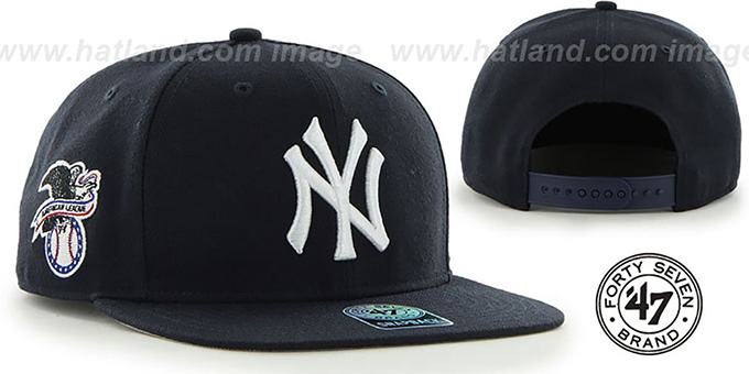 Yankees 'SURE-SHOT SNAPBACK' Navy Hat by Twins 47 Brand : pictured without stickers that these products are shipped with