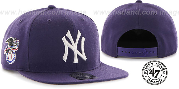 Yankees 'SURE-SHOT SNAPBACK' Purple Hat by Twins 47 Brand : pictured without stickers that these products are shipped with