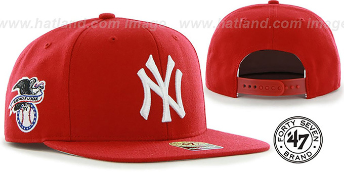 Yankees 'SURE-SHOT SNAPBACK' Red Hat by Twins 47 Brand : pictured without stickers that these products are shipped with