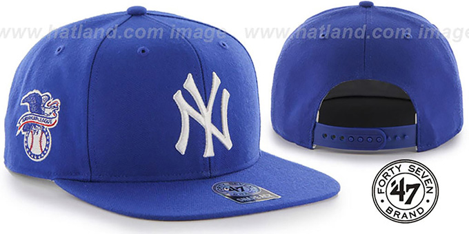 Yankees 'SURE-SHOT SNAPBACK' Royal Hat by Twins 47 Brand : pictured without stickers that these products are shipped with