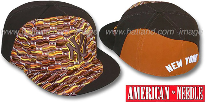 Yankees 'SWEATER SWIRL' Brown Hat by American Needle : pictured without stickers that these products are shipped with