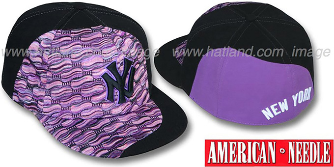 Yankees 'SWEATER SWIRL' Purple Hat by American Needle : pictured without stickers that these products are shipped with