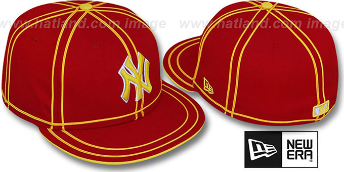 Yankees 'TACHS' Red-Gold Fitted Hat by New Era : pictured without stickers that these products are shipped with