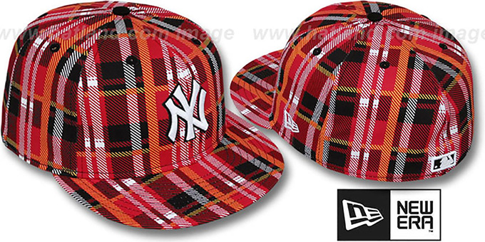 Yankees 'TARTAN PLAID' Red Fitted Hat by New Era : pictured without stickers that these products are shipped with